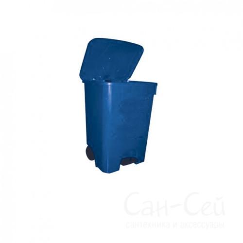 Мусорный бак Telkar 85 литров, пластиковый с крышкой, педалью и колесами