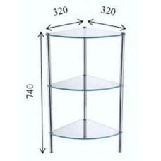 FIXSEN FX-9223 Угловая стеклянная этажерка трехэтажная