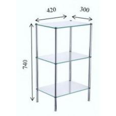 FIXSEN FX-9333 Прямоугольная стеклянная этажерка трехэтажная