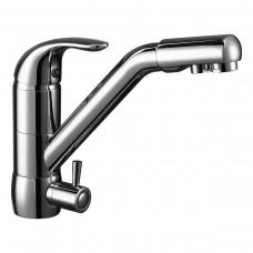 Смеситель Rossinka Z40-24 одноручный (40мм)  для кухни c подключением к фильтру с питьевой водой, хром