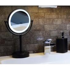 Зеркало с LED-подсветкой WasserKraft K-1005BLACK двухстороннее, стандартное и с 3-х кратным увеличением