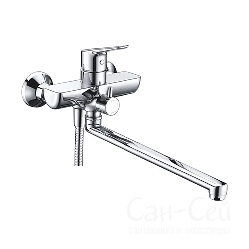 Смеситель для ванны WasserKRAFT Lippe 4502L, с длинным поворотным изливом