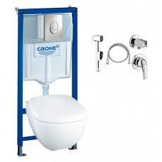 Комплект Grohe Solido 37452000 подвесной унитаз + инсталляция + гигиенический душ