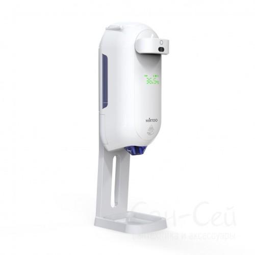 Автоматический дозатор для антисептика MIRTOO 002TM с бесконтактным термометром с поддоном, 1100 мл