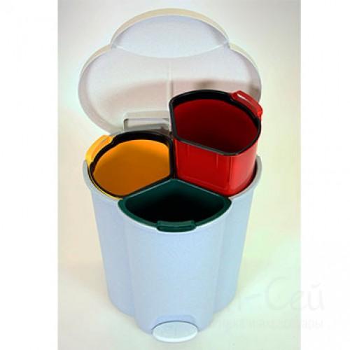 Урна для раздельной утилизации мусора Rubbermaid Trio Pedal Bin 40 литров